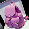 Candy Color School Bags For Teenagers Girls 2016 Brand Waterproof Small Pu Leather Backpack Women Travel Student Bag