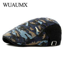 Wuaumx Branded Casual Camouflage Berets Hats Men Women Herringbone Caps Cotton Newsboy Cap Cabbie Duckbill Ivy Flat Hat