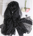 Blanket scarf luxury brand  2016 Silk scarves and Shawls Black White Polka Dot Silk Pashmina fashion Summer New Shawl and Wrap