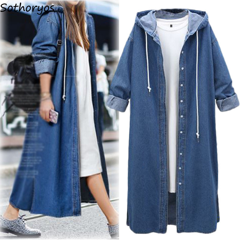 Trench de las mujeres de gran tamaño Simple Denim Vintage con capucha Plus tamaño de manga completa solo Breasted europeo sólido suelto abrigo mujer Chic