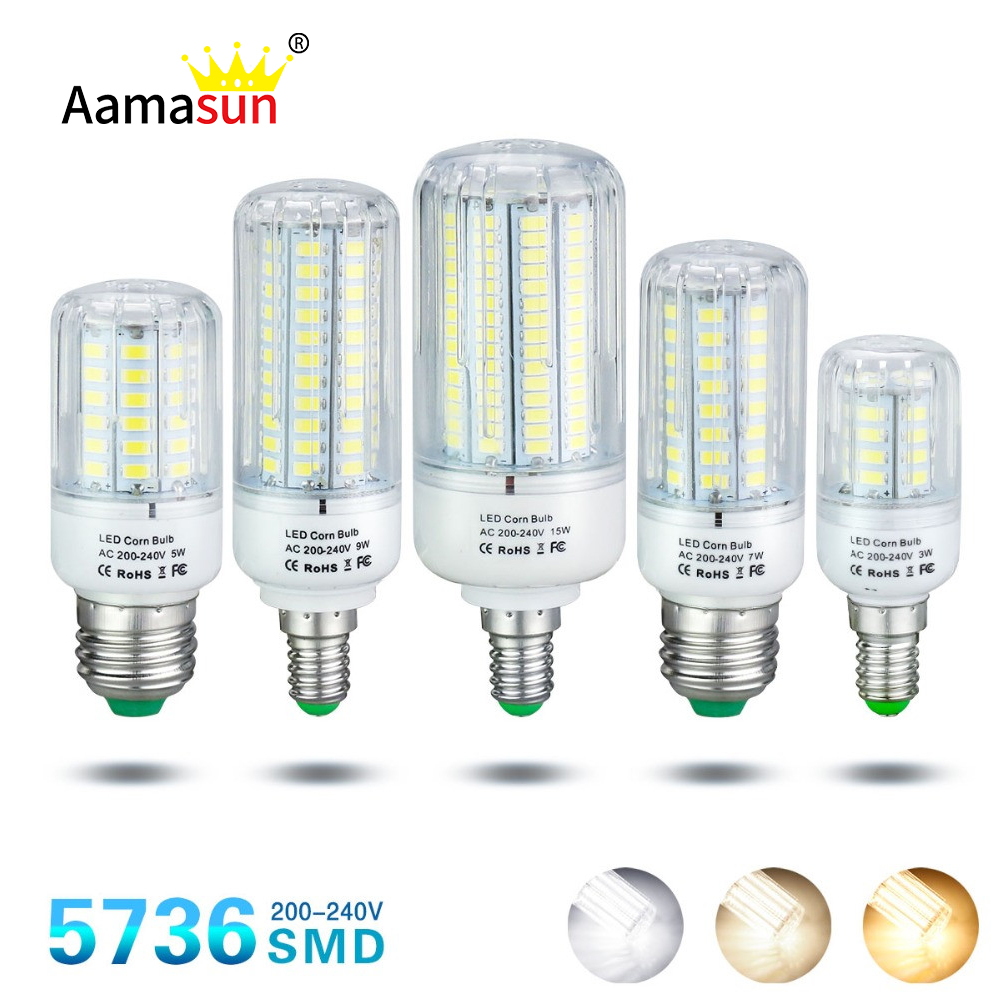 Ampoule Led 3w Us 1 67 30 Off Smd5736 Lampada Led Lamp Ac220v Corn Bulb Light E27 Ampoule Led E14 Bombillas Spotlight 3w 5w 7w 9w 12w 15w Chandelier Light In Led