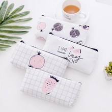 Simple Fruit Pattern Cosmetic Bag Women Casual Travel Canvas Makeup Zipper Storage Pouch Large Capacity Toiletry Neceser Kit