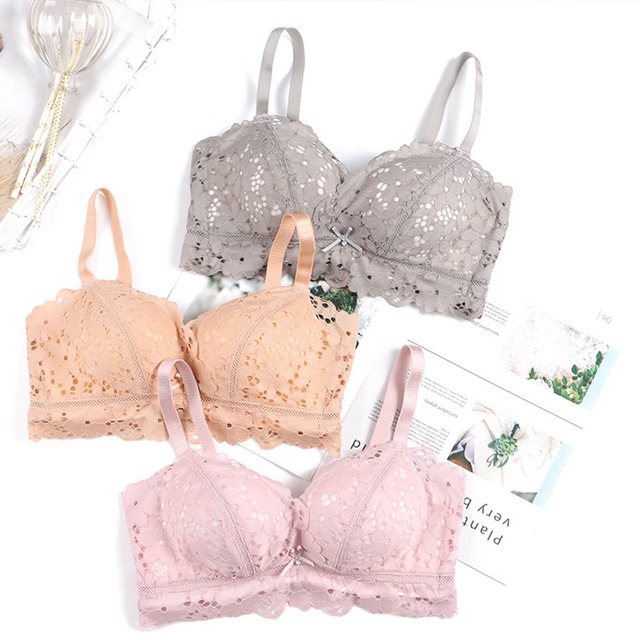 a3b5d318cc27a Women Lace Super Push Up Bra Gather Wire Free Adjustable Thick Padded Brassiere  Sexy Lingerie Bralette Size 30-38 A B C D Cup