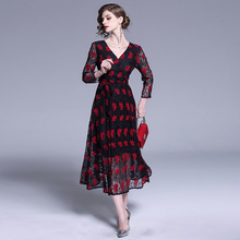 ARiby 2019 Spring New Women Dress Vintage Office Lady Elegant V-neck Lace Print Wrist Wine Red A-Line Mid-Calf Party
