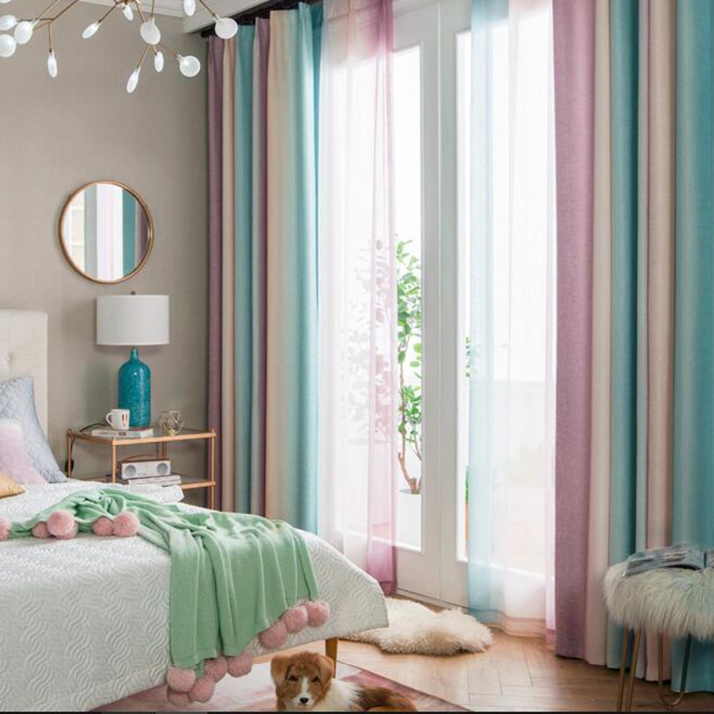 Gradient Window Curtains Rainbow Stripe Print Blinds Curtains Tulle Sheer Voile Decorative Drapes For Living Room Bed Room Blue