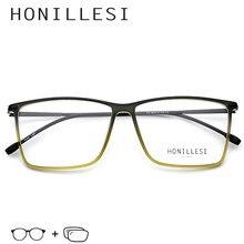 7b6ee1a97 TR90 Prescrição Óculos de Armação Homens Transparente Grande Praça Óculos  2018 Óculos de Miopia Eyewear do Frame Ótico Do Metal .