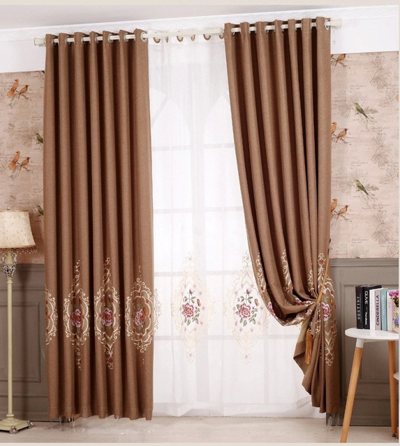 Brown Blinds Curtain Embroidered Cloth Linen Fabrics Drapes Blackout