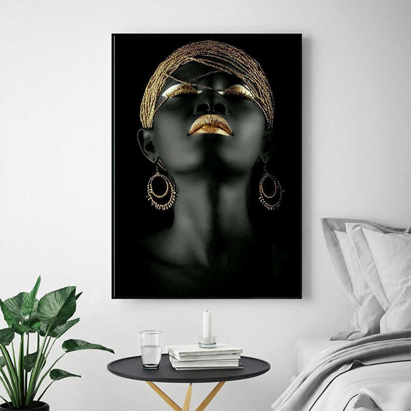 Black African Nude Woman Oil Painting on Canvas Posters and Prints Scandinavian Wall Art Picture for living room No Frame