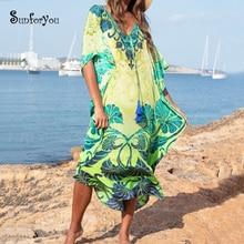 Print Maxi Beach Dress Cotton Long Boho Robe de Plage Swimwear Women Cover ups Tunic Pareo Kaftan Beachwear