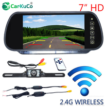 Auto Parking Assistance 7 Inch TFT LCD Car Rearview Mirror Monitor with Wireles Night Vision Car Reverse Backup Rear View Camera