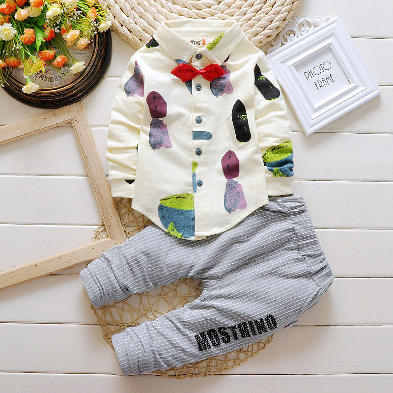 Toddler Clothing Suits Baby Boys Girls Sets Spring Autumn Fashion Children Tie Shirt Pants 2 Pcs Clothes Kids Tracksuit spring newborn suits new fashion baby boys girls brand suits children sports jacket pants 2pcs sets children tracksuits
