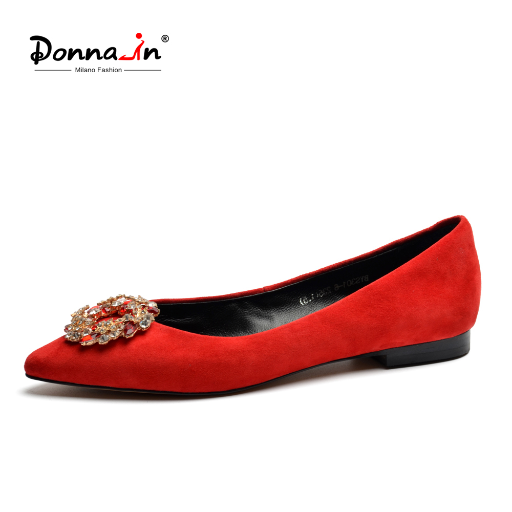 Donna-in 2018 Summer Women Ballet Flats Shoes Genuine Leather Pointed Toe Flats Shoes Red Fashion Diamond Casual Female Slip On cresfimix zapatos women cute flat shoes lady spring and summer pu leather flats female casual soft comfortable slip on shoes