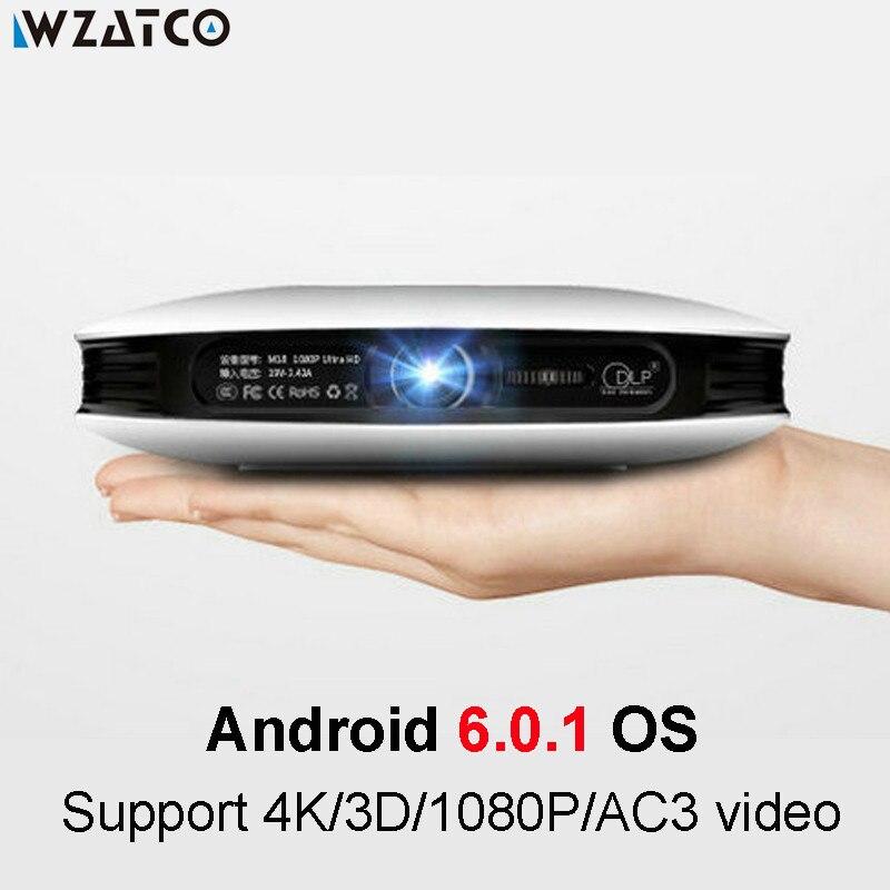 WZATCO Full HD 1080P 4K светодиодный активный мини DLP 3D проектор Android Smart WIFI 12000 мАч аккумулятор домашний кинотеатр Cinem Beamer Proyector