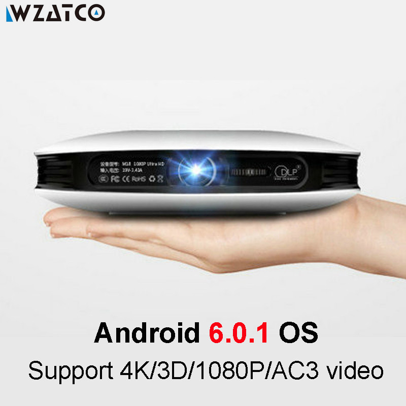 WZATCO Android 6.0 Smart Mini Full HD 1080P Active 3D Projector DLP LED WIFI Built-in Battery Home Theater Beamer Proyector WZ18 цена