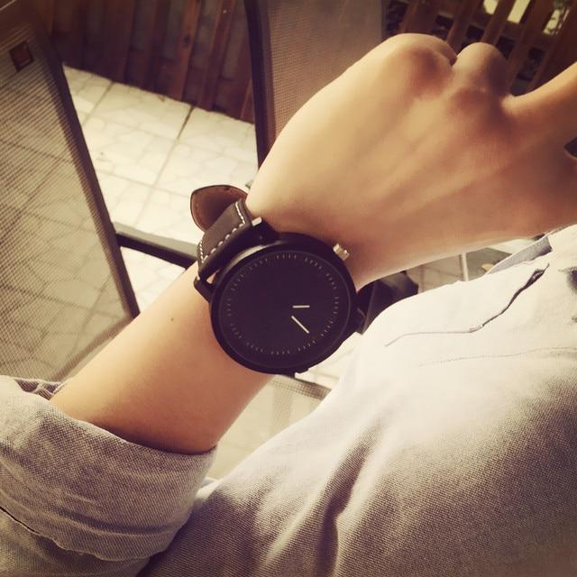 2017 Harajuku style Big Dial Fashion Casual Watch Men Women Quartz Clock Leather BGG Brand Lovers' Wristwatches orologio Hours