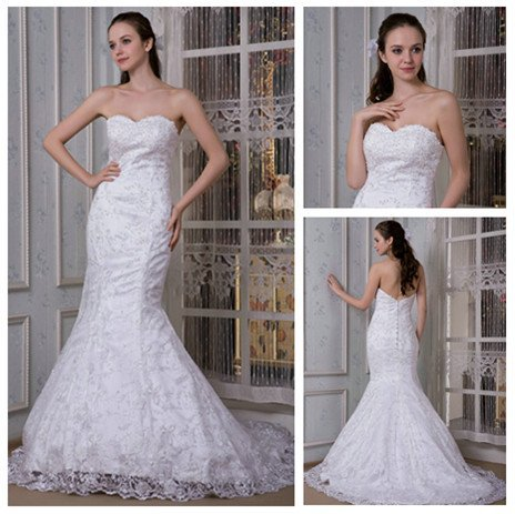 Free Shipping Best Selling Mermaid Style Sweetheart White Lace Wedding Dress 2012