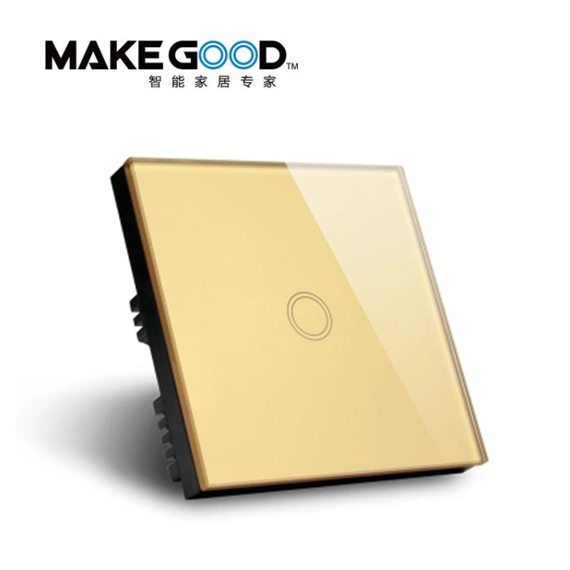 MakeGood Touch Switch 1 Gang 1 Way Touch Screen Wall Light Switch Gold Glass Switch Panel