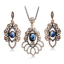 Blucome Retro Turkish Jewelry Set Red Resin Crystal Flower Pendants Necklace Earrings Sets Women Party Wedding Gift Accessories(China)