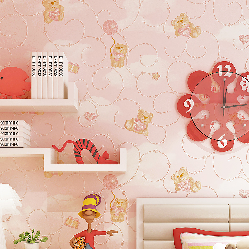 Lovely Bears Wallpaper 3D Cartoon Embossed Wall Paper Boys And Girls Bedroom Non-Woven Background Wall Covering Papel De Parede new hot sale environmental non woven wallpaper blue boy lovely cartoon background bedroom of children room wall paper stars moon