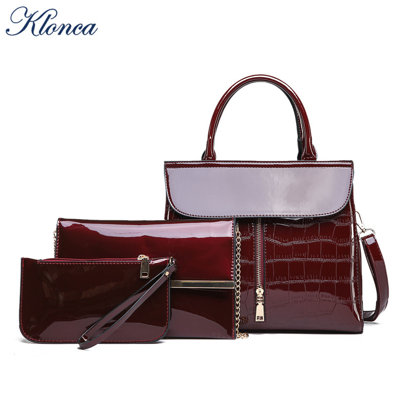 Klonca 2019 New High Quality 3pcs/set Patent Leather Handbag PU Leather Composite Bag Female Shoulder Bag Clutches(China)