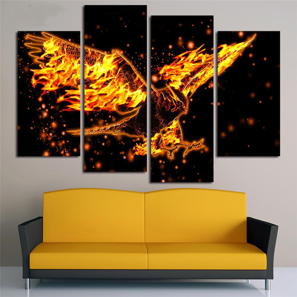 Modular Framework Wall Art Animal Painting 4 Panels Flame Eagle HD ...