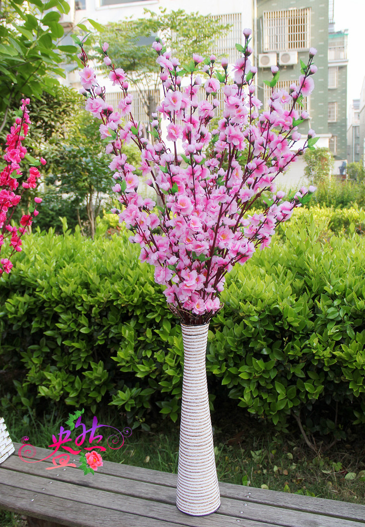 Wholesale 12pcslot artificial branches of peach cherry blossom silk wholesale 12pcslot artificial branches of peach cherry blossom silk flowers home wedding decoration flower in artificial dried flowers from home garden izmirmasajfo