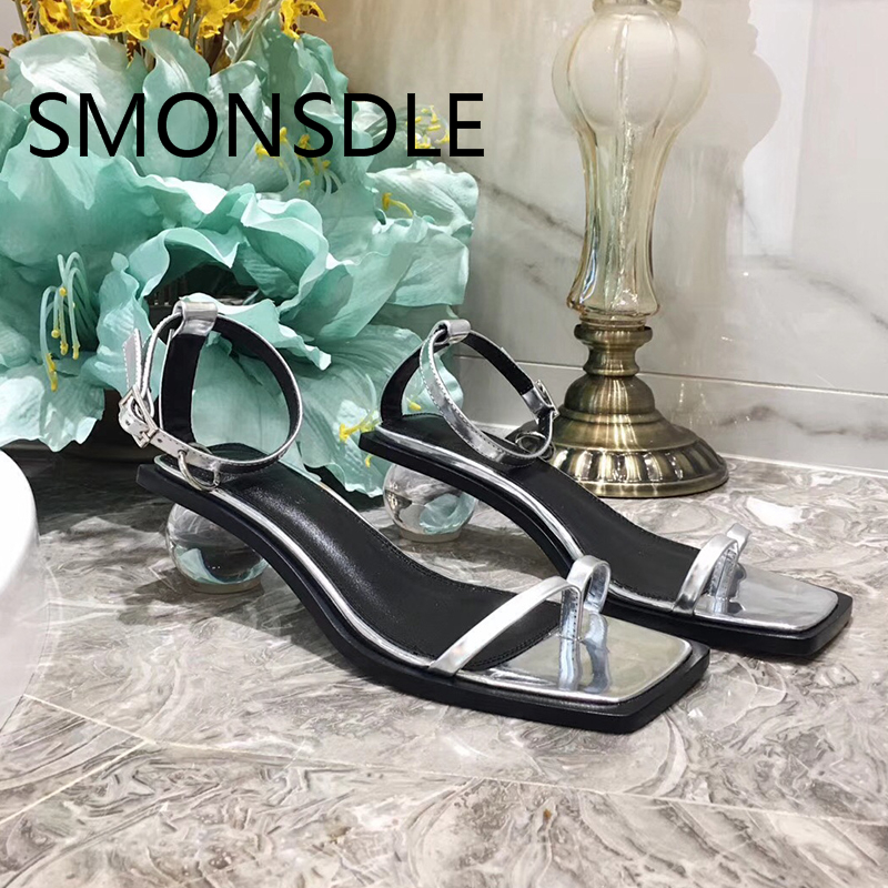 2018 Hot Summer Woman Sandals Real Leather Women Shoes Strange Heel Design Gladiator Sandals Black Fashion Party Women Shoes fashion women s sandals with metal and stiletto heel design