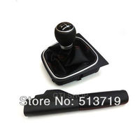 Free shipping LEATHER SHIFT KNOB 5 Speed with PARKING BRAKE HANDLE Fit For GOLF 5 6 JETTA 5