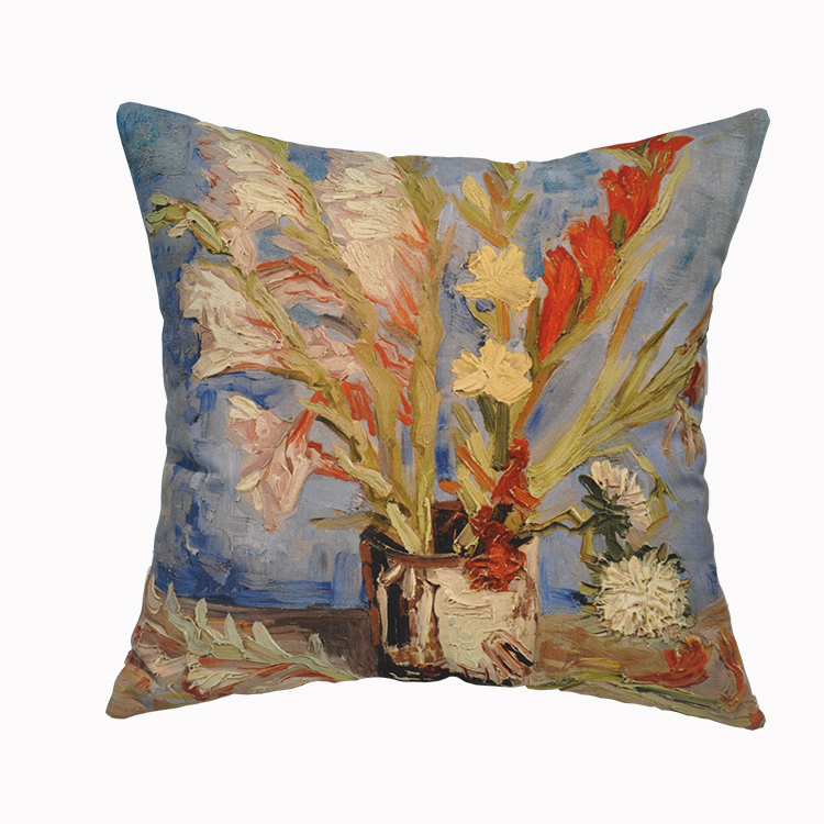 Van Gogh Oil Paintings Velvet Fabric Cushion Cover for Home Decoration Christmas Decoration Office and Car Cushion Covers