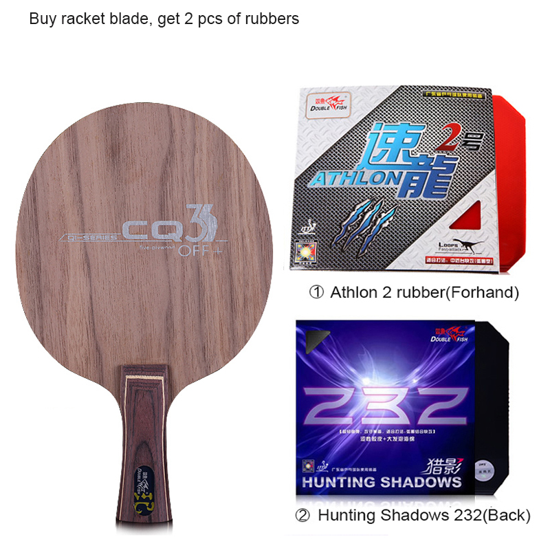 Double fish CQ3 7-PLY Ayous walnut wood dual Carbon fiber offensive professional table tennis racket blade paddle with 2 rubbers quality broken wind chinese dragon badminton rackets carbon fiber professional offensive racquets single racket q1013cmk