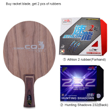 цена на Double fish CQ3 7-PLY Ayous walnut wood dual Carbon fiber offensive professional table tennis racket blade paddle with 2 rubbers