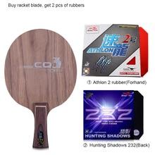 Peces doble CQ3 7-PLY Ayous madera de nogal dual de fibra de carbono ofensiva profesional raqueta de tenis de mesa hoja paleta con 2 gomas