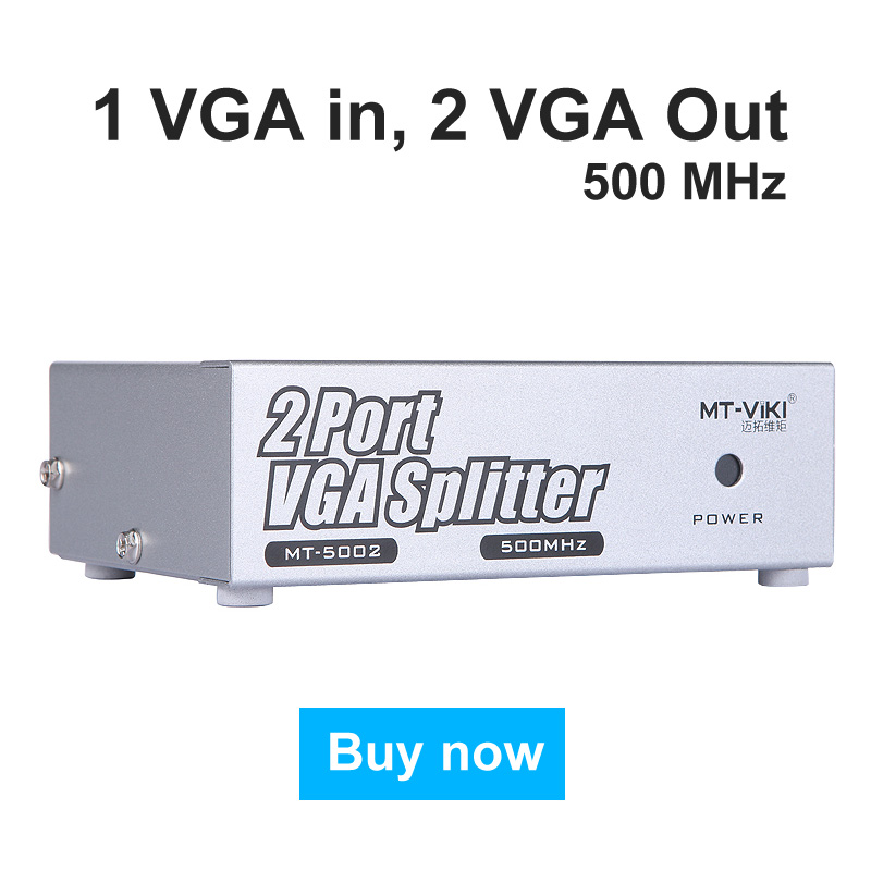 MT-VIKI 500MHz VGA Video Splitter Distributor 1 input to 2 Output Ultra Clear Support Widescreen Monitors Maituo 5002