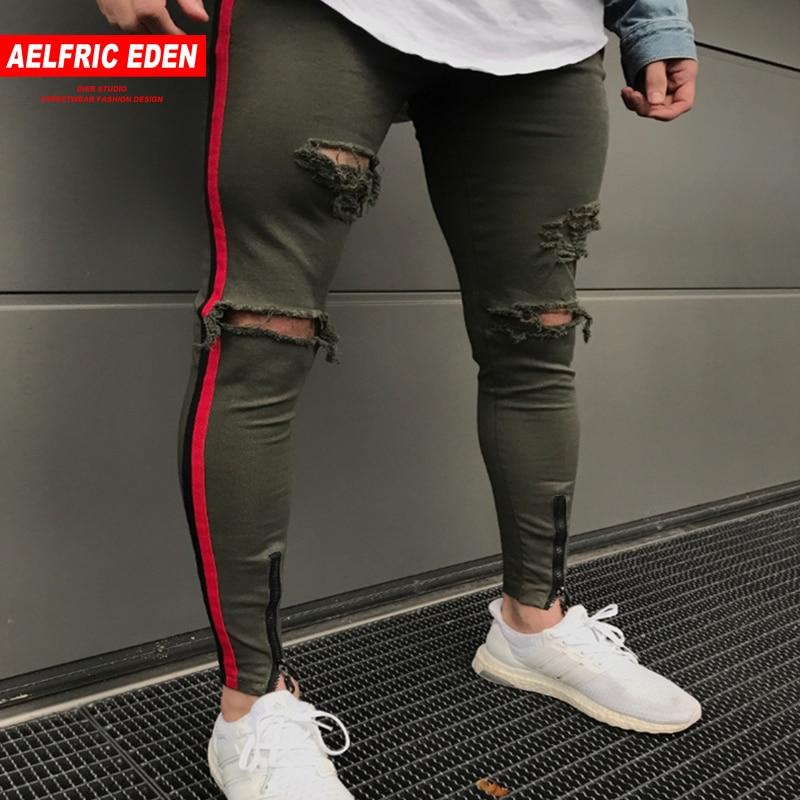 Aelfric Eden 2018 Hombres Lado Rayas Rojo Biker Jeans Denim Agujero Pantalones De Chandal De Corte Slim Cena Delgado Hip Hop Jean Joggers Yg109 Jean Joggers Skinny Hip Hop Jeansbiker Jeans Aliexpress