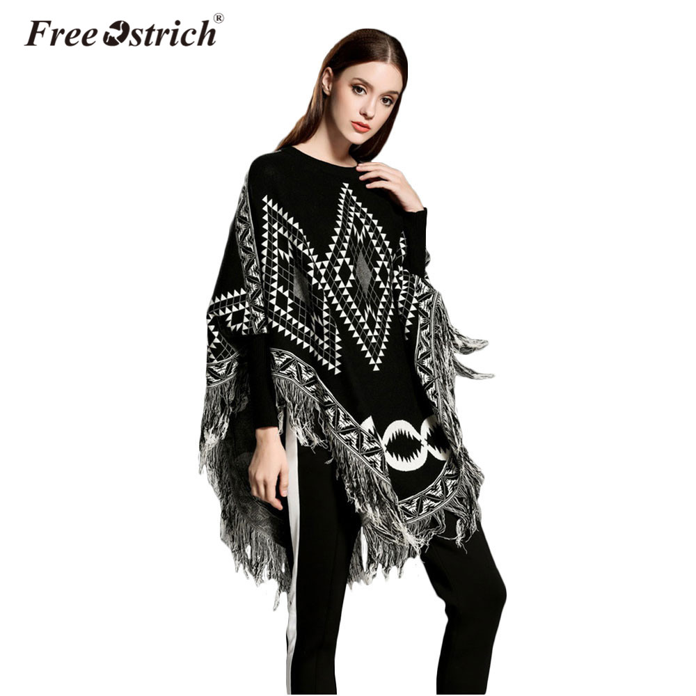 Free Ostrich Autumn Winter Sweater Women O Neck Batwing Sleeve Tassel Pullover Loose Poncho Capes Knitted Pull Femme S25