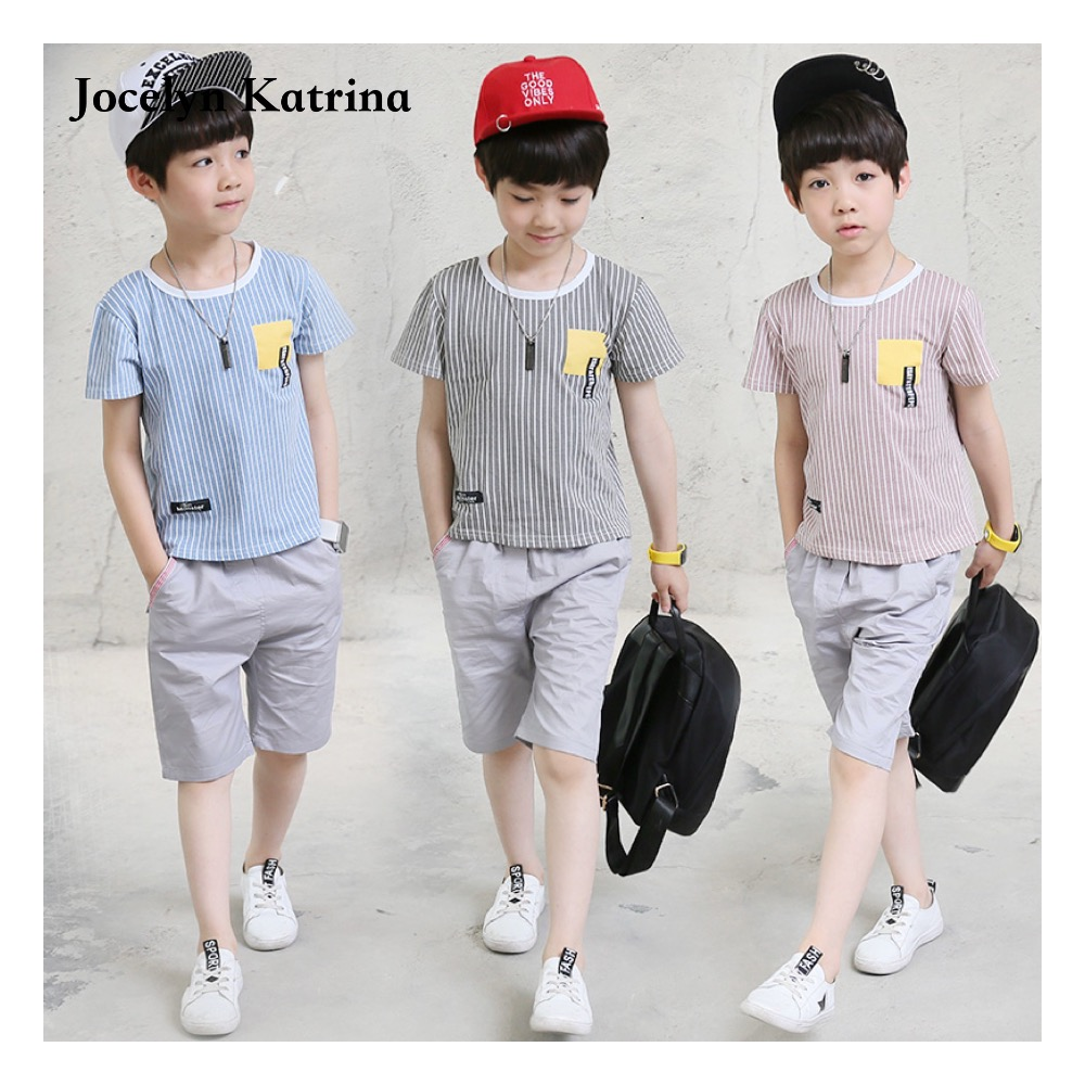 2017 Baby Kids Summer Children Clothing Sets Stripe Short Sleeve T-shirt Tops Pants Outfit Kids Boys Clothing Suit family fashion summer tops 2015 clothers short sleeve t shirt stripe navy style shirt clothes for mother dad and children