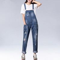Spring Autumn Women Loose Overalls Jumpsuit Demin Suspender Trousers BF Hole Pockets Strap Jeans Harem Pants Rompers Large Size