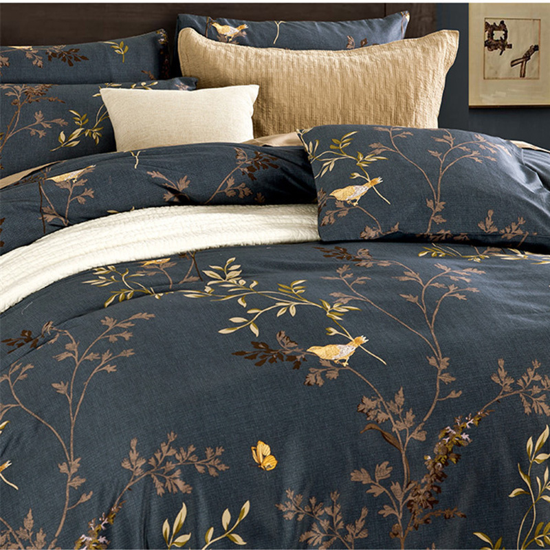 CHAUSUB Duvet Cover <font><b>Set</b></font> 4PCS Satin <font><b>Egyptian</b></font> <font><b>Cotton</b></font> <font><b>Bedding</b></font> <font><b>Set</b></font> Luxury Printed Bed Cover Bed Sheets Pillowcase King Queen Size image