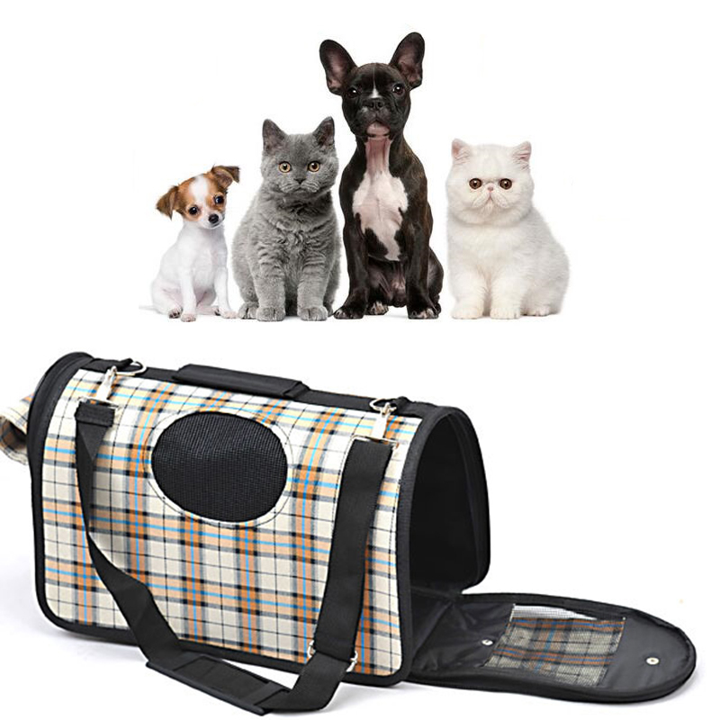 Portable Soft Pet Dog Cat Carrier Comfort Travel Shoulder Bag Foldable Crate Cage House Kennel Pet Cage Travel Plaid Dog Bag