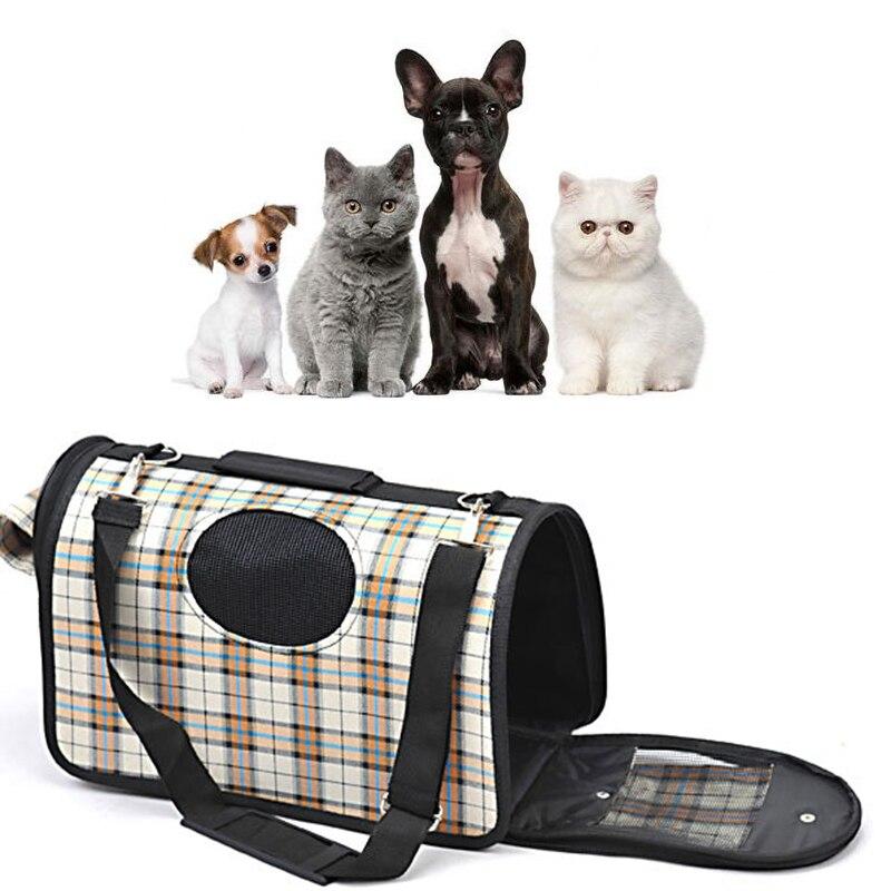 Portable Soft Pet Dog Cat Carrier Comfort Travel Shoulder Bag Foldable Crate Cage House Kennel Pet Cage Travel Plaid Dog Bag