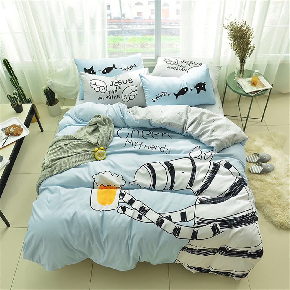 yeeKin Cartoon Zebra Kids Bedlinen,Flat Bed sheet Type Child zebra Duvet Cover Sets Queen Twin Size zebra cartoon cotton duvet