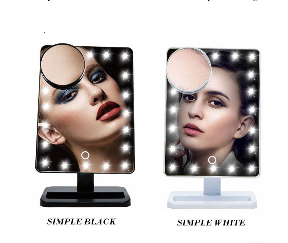 Offen Gustala 20 Leds 10x Vergrößerungs Einstellbare Touchscreen Klapp Beleuchtete Make-up Spiegel Leucht Arbeitsplatte Kosmetik Spiegel Elegant Im Stil Spiegel