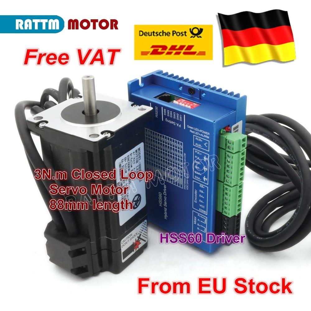 EU free VAT Nema24 2 Phase Closed-Loop Servo Motor L88mm 5A 3N.m & HSS60 6A Hybrid Step-servo Driver CNC Controller Kit