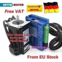 цена на EU free VAT Nema24 2 Phase Closed-Loop Servo Motor L88mm 5A 3N.m & HSS60 6A Hybrid Step-servo Driver CNC Controller Kit