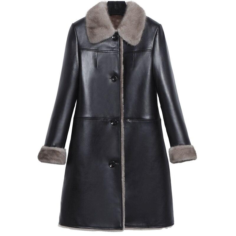 YOLANFAIRY Geniune Leather Jacket Women Sheepskin Leather Mink Fur Collar Jackets Autumn Winter Plus Size Coat 2019 FX913 MF509