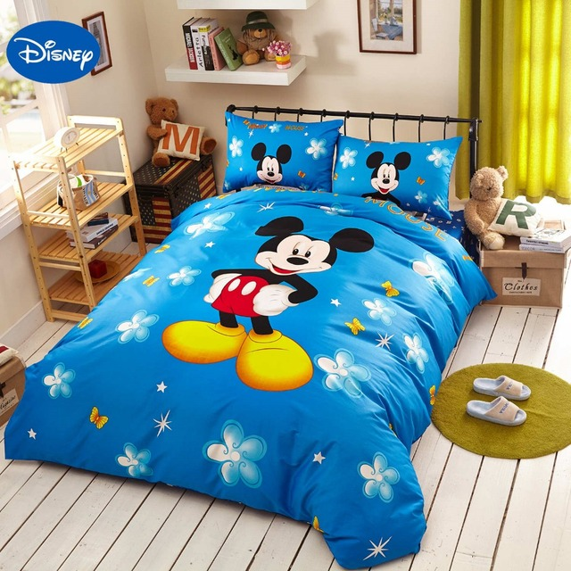 Blue Disney Cartoon Mickey Mouse 3D Print Bedding Set For Childrens Bedroom Decor Cotton Bed Sheet