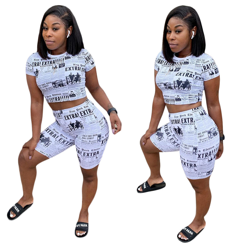 Adogirl Newspaper Print Casual Two Piece Set Women Tracksuit O Neck Short Sleeve Crop Top T Shirt + Shorts Fashion Clothing