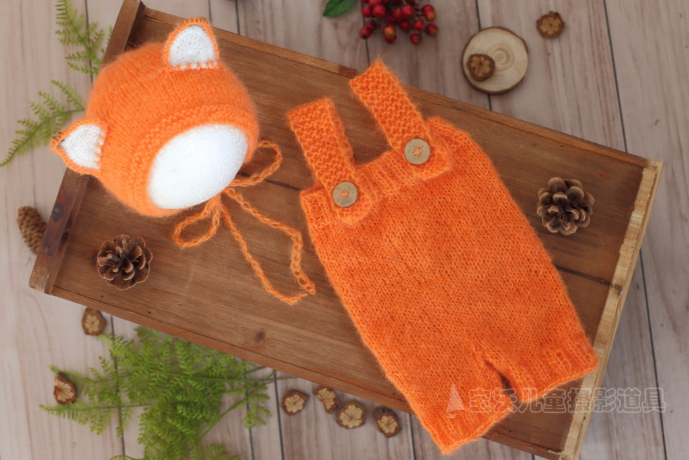 Fox Newborn Hooded Romper Crochet Mohair lace bonnet Photography props  Knitted baby pant outfit Newborn Overall Onesie Pixie hat 0701ed10d8b7