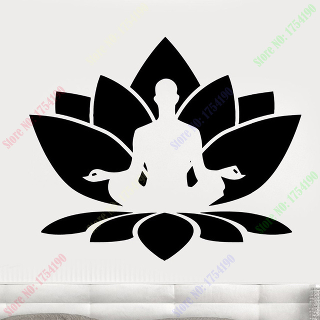 Free shipping vinyl wall sticker home decal wall decal lotus flower free shipping vinyl wall sticker home decal wall decal lotus flower seated buddha meditation yoga studio mightylinksfo Choice Image