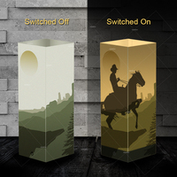 Creative Shadow night lights Riding a horse design warm white lighting baby sleep lamp ideal gift touch control room decor